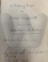 Alice's bible inscription
